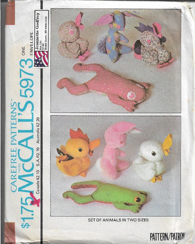 McCalls 5973 Vintage Sewing Craft Pattern 1970s Stuffed Animals Rooster Frog Duck - VintageStitching - Vintage Sewing Patterns