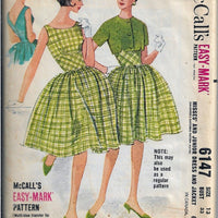 McCalls 6147 Ladies Dress Bolero Jacket Vintage Sewing Pattern 1960s - VintageStitching - Vintage Sewing Patterns