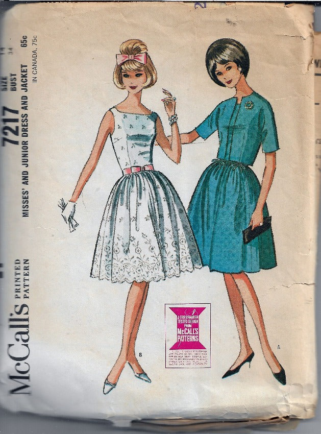 McCalls 7217 Dress Bolero Jacket Vintage Sewing Pattern 1960s - VintageStitching - Vintage Sewing Patterns