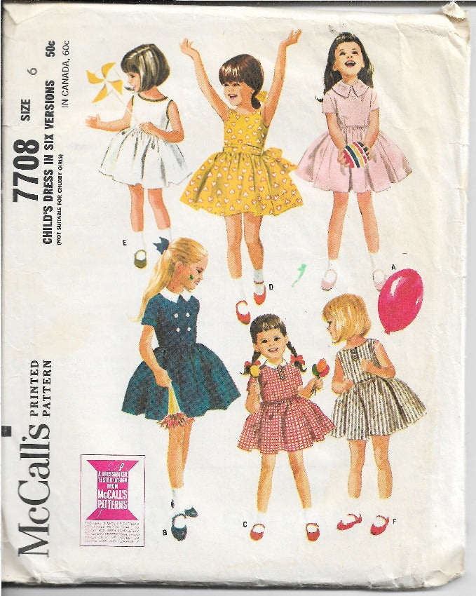 McCalls 7708 Girls Play Dress Vintage Sewing Pattern 1960s - VintageStitching - Vintage Sewing Patterns