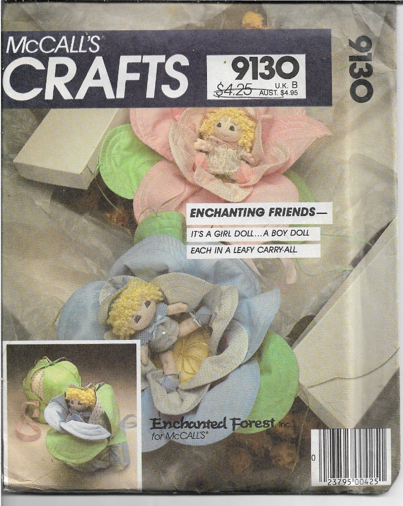 McCalls 9130 Enchanted Forest Dolls Craft Pattern Vintage 1980s - VintageStitching - Vintage Sewing Patterns