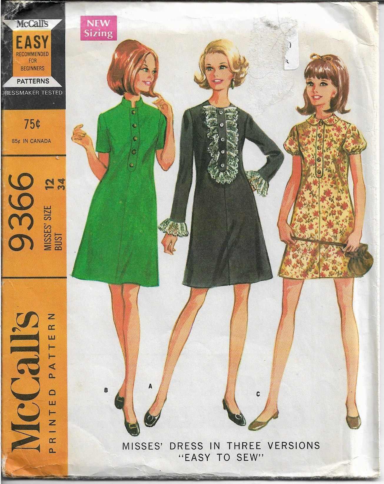McCalls 9366 Ladies Dress Easy To Sew Vintage Sewing Pattern 1960s - VintageStitching - Vintage Sewing Patterns