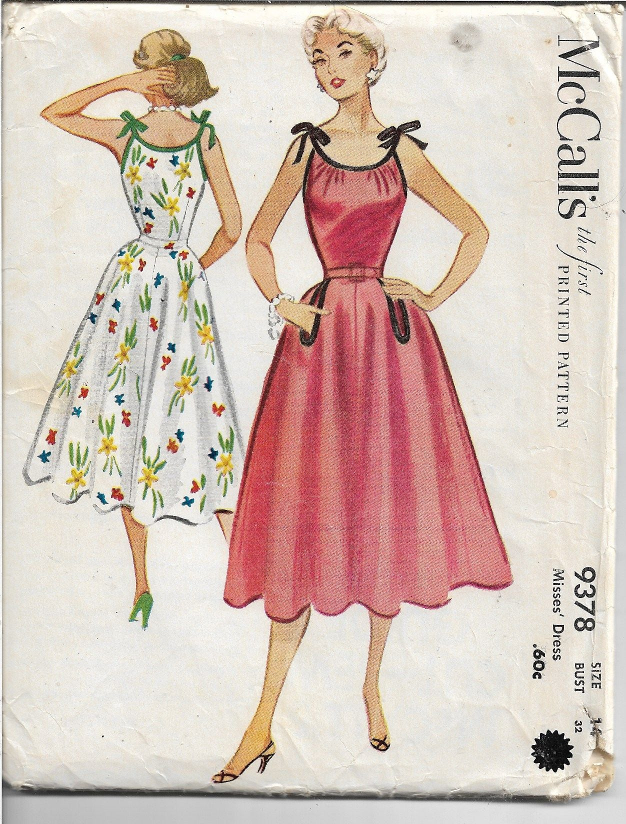 McCalls 9378 Ladies Summer Sundress Vintage Sewing Pattern 1950s - VintageStitching - Vintage Sewing Patterns