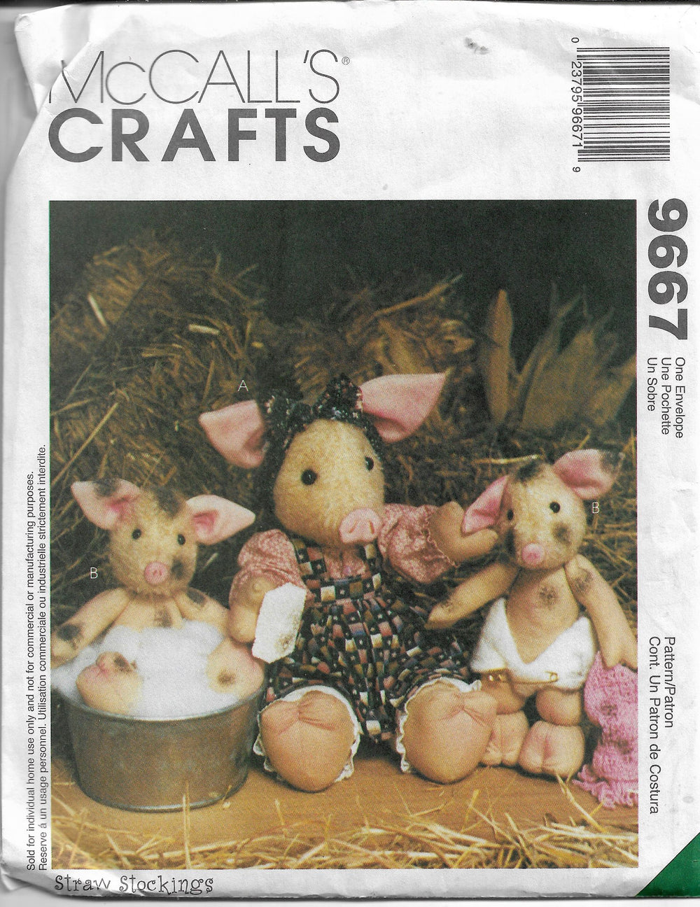 McCalls 9667 Crafts Sewing Pattern Stuffed Pigs Piglet Dolls - VintageStitching - Vintage Sewing Patterns