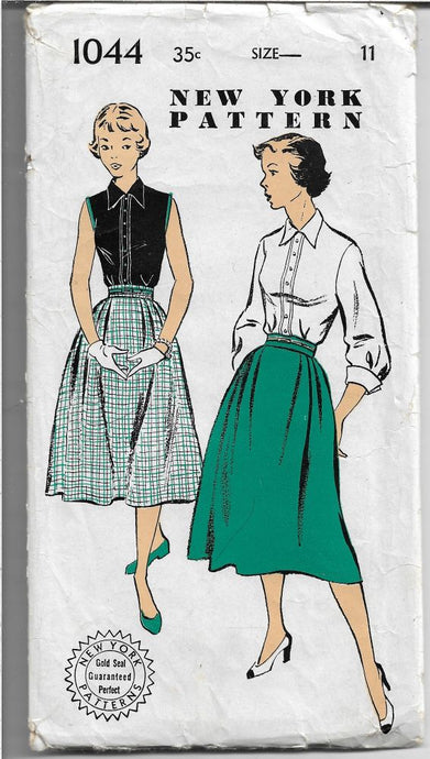 New York Gold Seal Vintage Sewing Pattern Blouse Skirt Unprinted 1940's - VintageStitching - Vintage Sewing Patterns