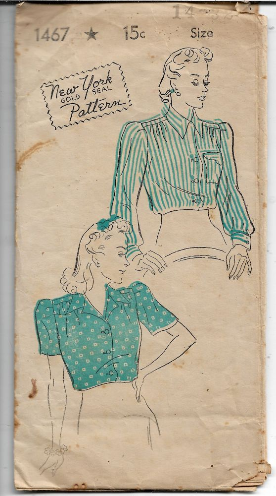New York Gold Seal Ladies Blouse Vintage 1940's Sewing Pattern - VintageStitching - Vintage Sewing Patterns