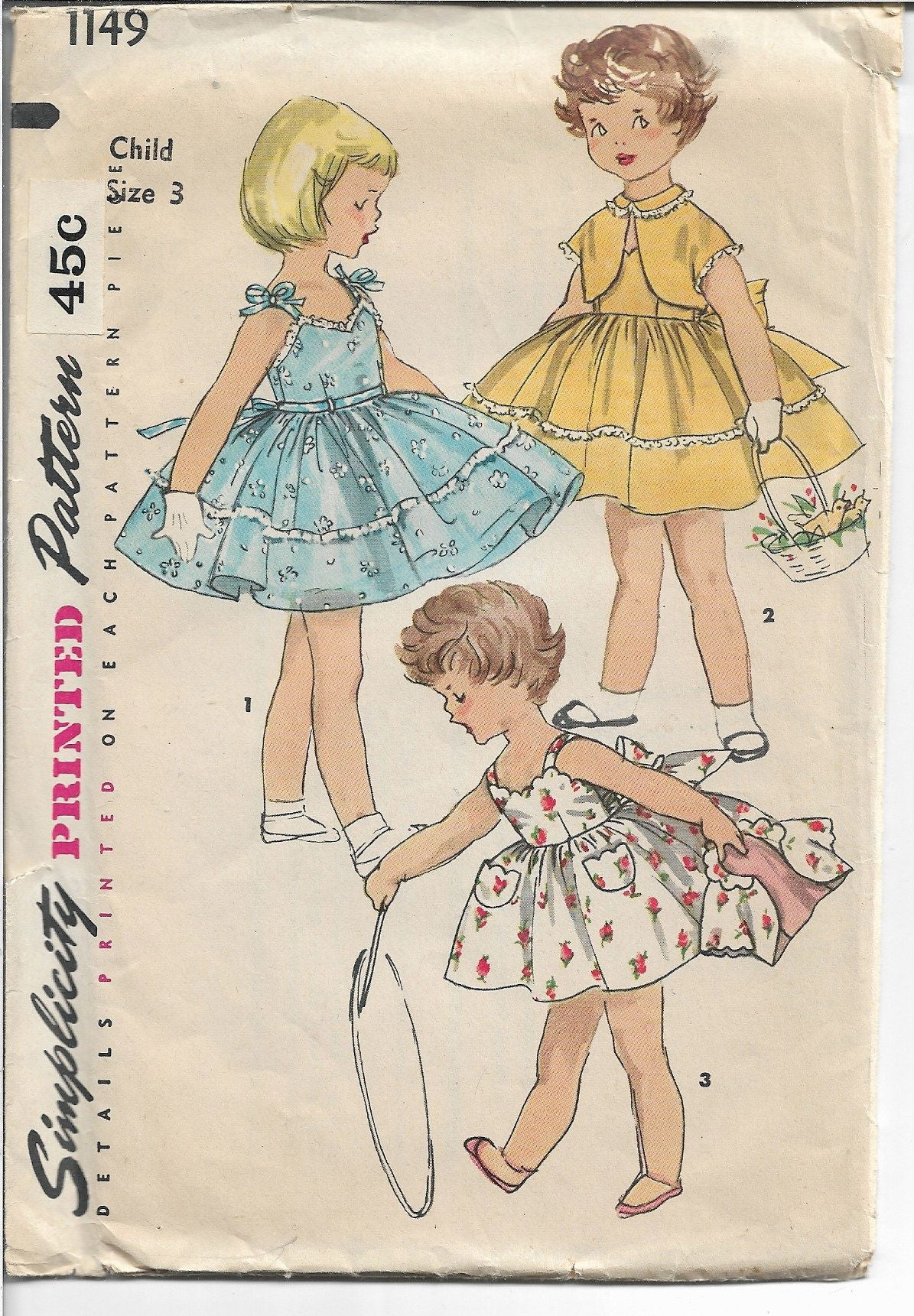 Simplicity 1149 Little Girls Sun Dress Vintage Sewing Pattern 1950s - VintageStitching - Vintage Sewing Patterns
