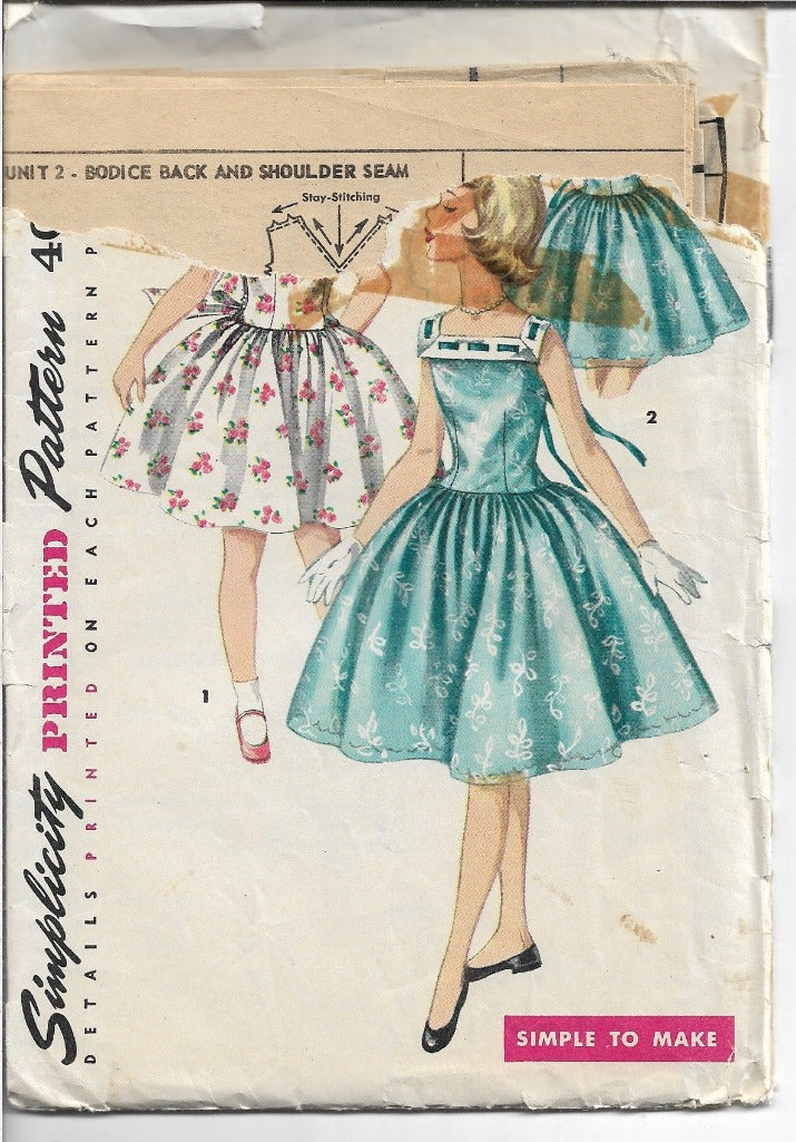 Simplicity 1633 Little Girls Rockabilly Party Dress Vintage Pattern 1950s - VintageStitching - Vintage Sewing Patterns