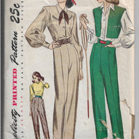 Simplicity 1971 Ladies Pants Bolero Jacket Blouse Vintage Sewing Pattern 1940s - VintageStitching - Vintage Sewing Patterns