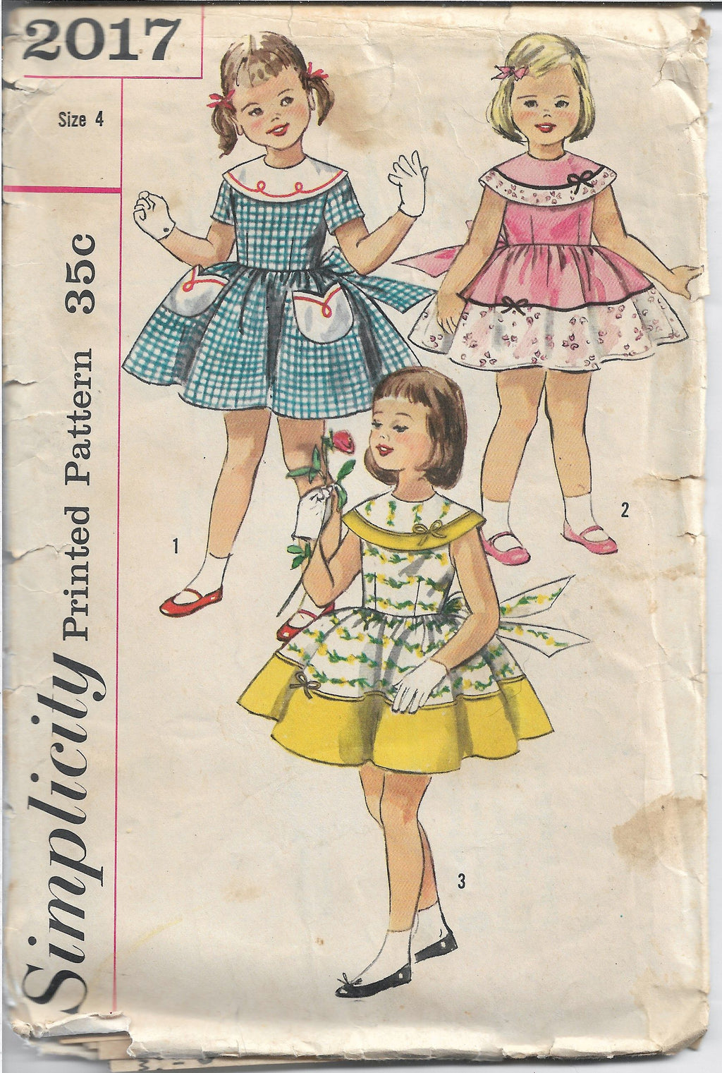 Simplicity 2017 Little Girls Party Dress Vintage Sewing Pattern 1950s - VintageStitching - Vintage Sewing Patterns