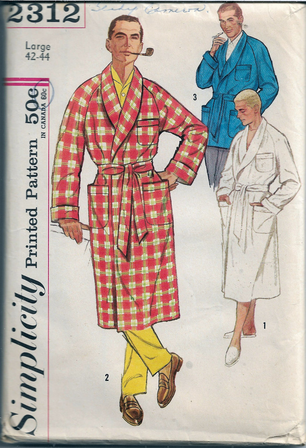 Simplicity 2312 Vintage Sewing Pattern 1950s Mens Robe Lounge Jacket - VintageStitching - Vintage Sewing Patterns