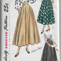 Simplicity 2359 Ladies Skirt  Ballerina Daytime Vintage Sewing Pattern 1940s - VintageStitching - Vintage Sewing Patterns