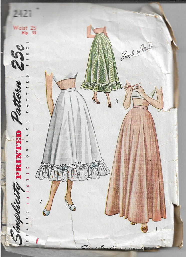 simplicity 2421 petticoat vintage pattern 1940s
