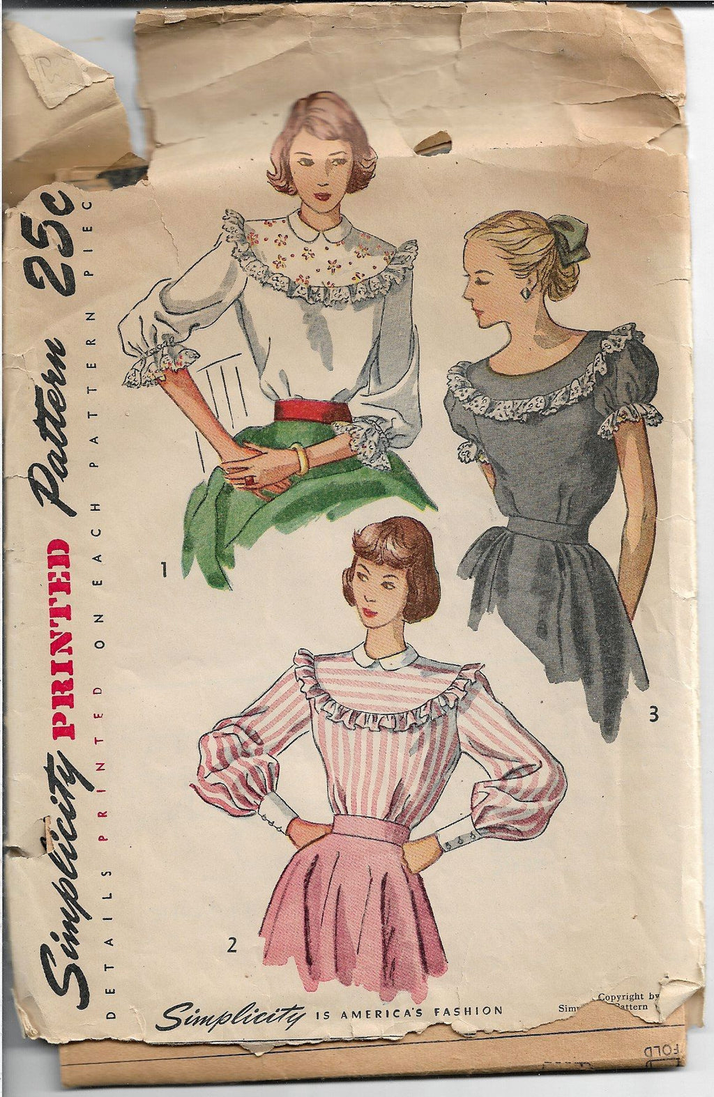 Simplicity 2483 Ladies Back Buttoned Blouse Vintage Sewing Pattern 1940s - VintageStitching - Vintage Sewing Patterns