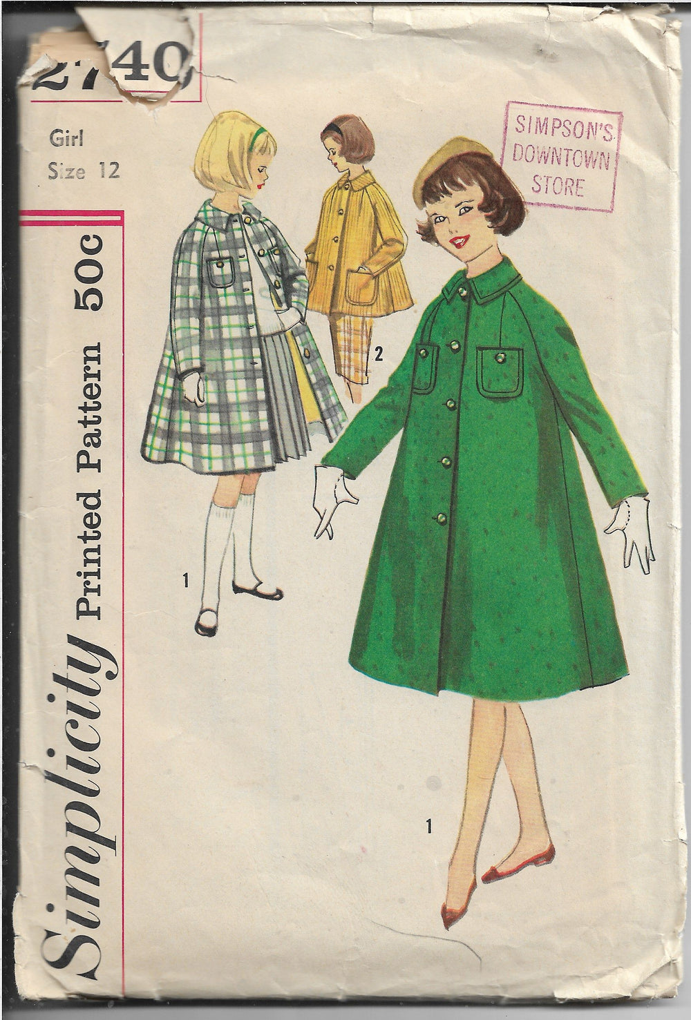 Simplicity 2740 Vintage Sewing Pattern 1950s Girls Coat - VintageStitching - Vintage Sewing Patterns