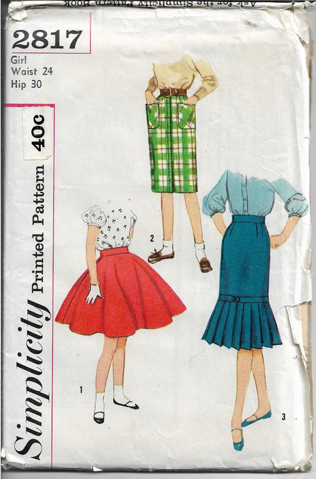 Simplicity 2817 Girls Children Circle Slim Skirt Vintage Sewing Pattern 1950s - VintageStitching - Vintage Sewing Patterns
