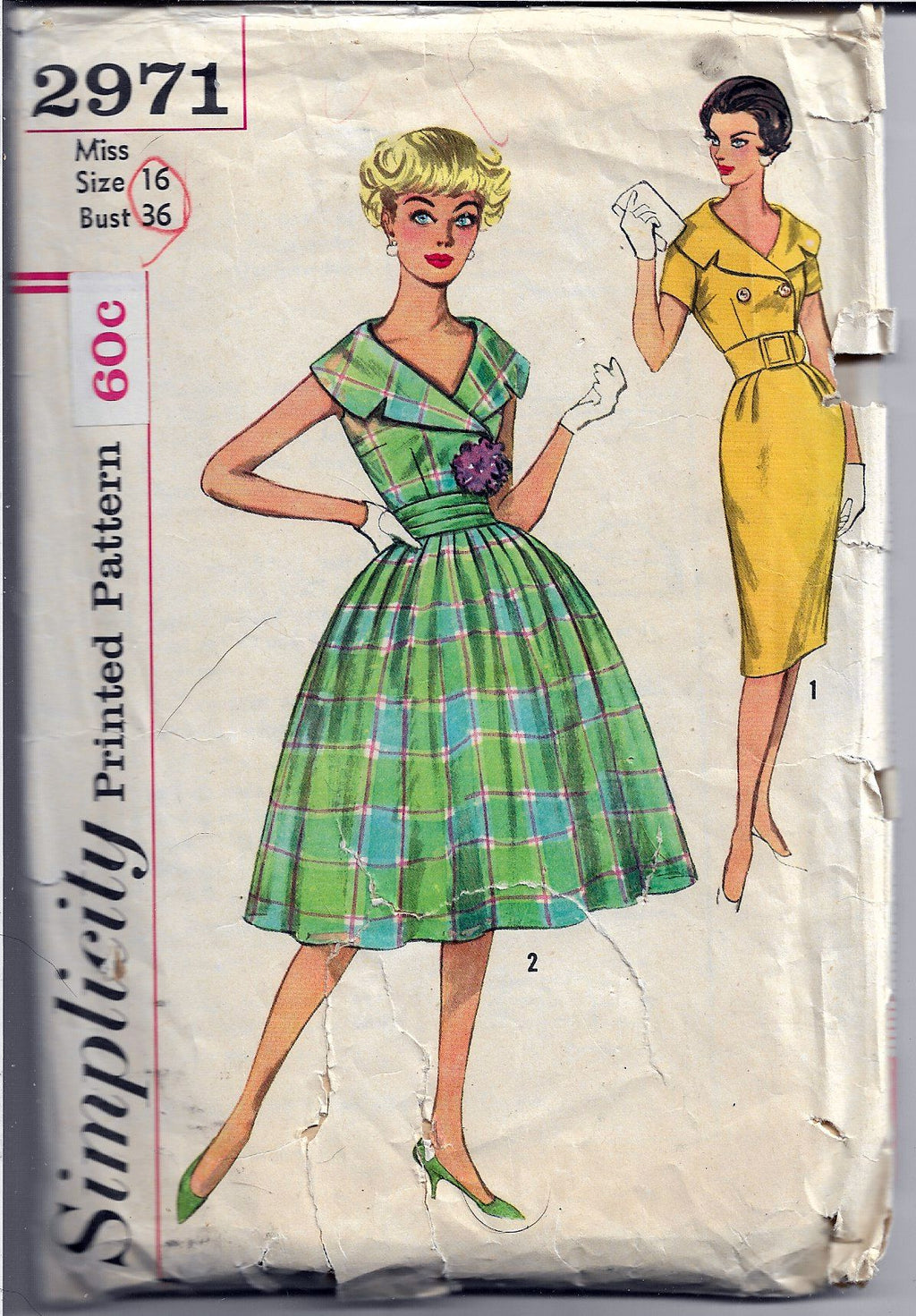 Simplicity 2971 Ladies Dress Lapel Collar Vintage Sewing Pattern 1950's - VintageStitching - Vintage Sewing Patterns