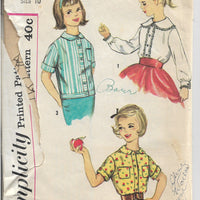 Simplicity 3098 Girls Blouse Vintage Sewing Pattern 1950s - VintageStitching - Vintage Sewing Patterns