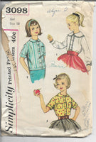 simplicity 3098 girls blouse pattern