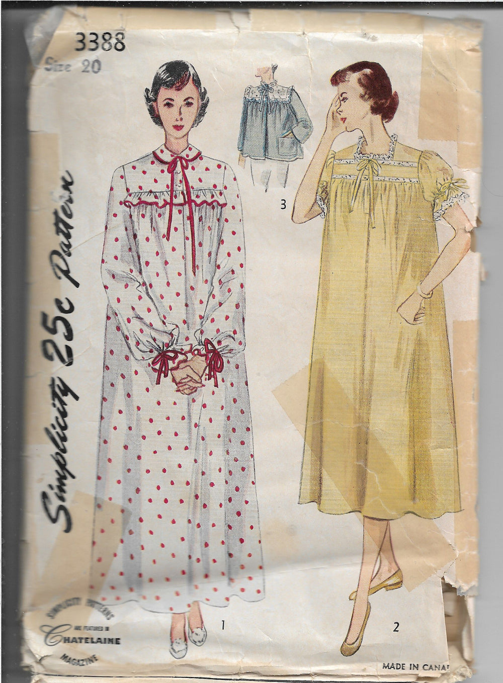 Simplicity 3388 Vintage Sewing Pattern 1950s Ladies Nightgown Bed Jacket - VintageStitching - Vintage Sewing Patterns