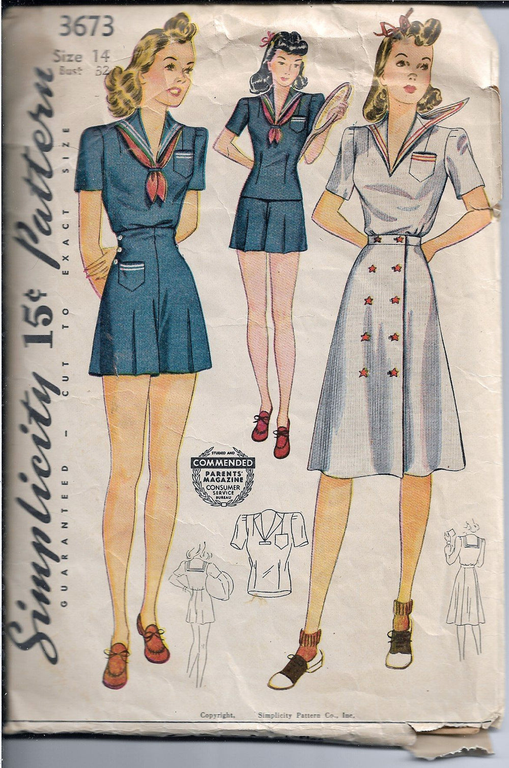 Simplicity 3673 Ladies Playsuit Romper Sailor Dress Vintage Sewing Pattern 1940s - VintageStitching - Vintage Sewing Patterns
