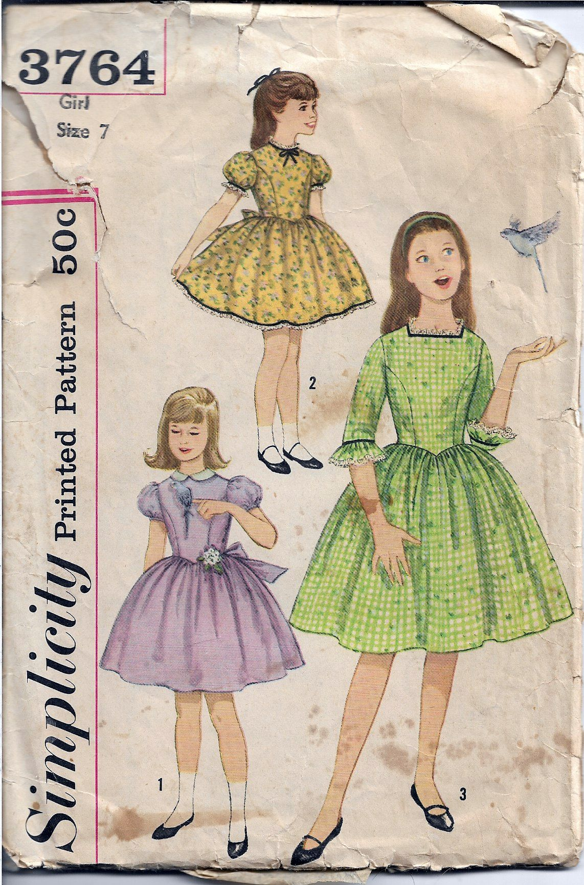 Simplicity 3764 Vintage 1960s Sewing Pattern Girls Party Dress Puff Sleeves - VintageStitching - Vintage Sewing Patterns