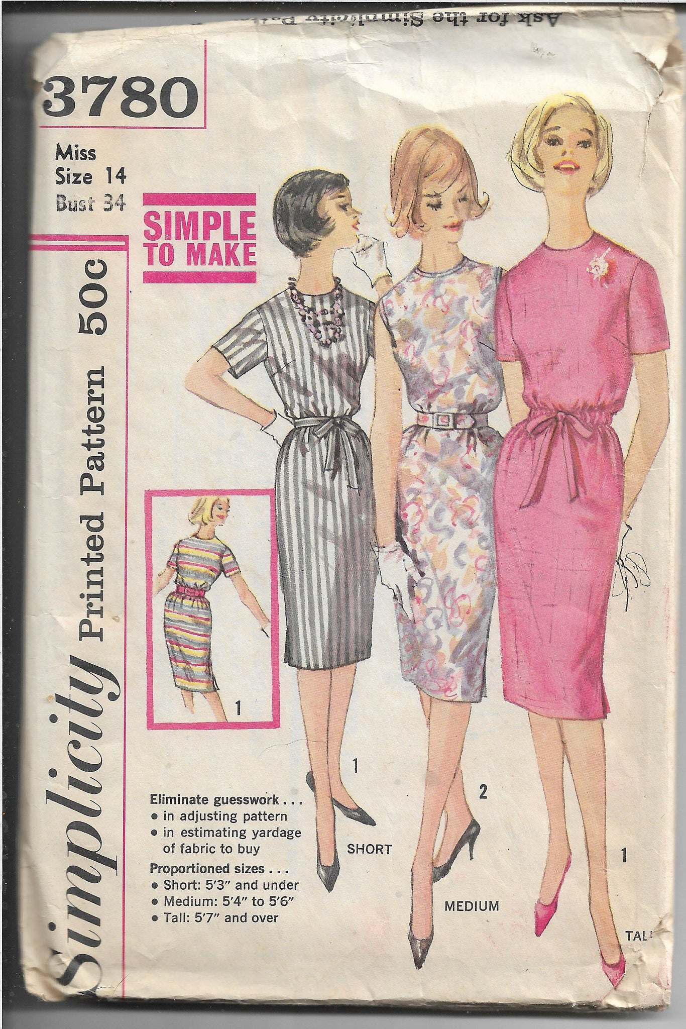 Simplicity 3780 Vintage Sewing Pattern 1960s Ladies Slim Dress - VintageStitching - Vintage Sewing Patterns