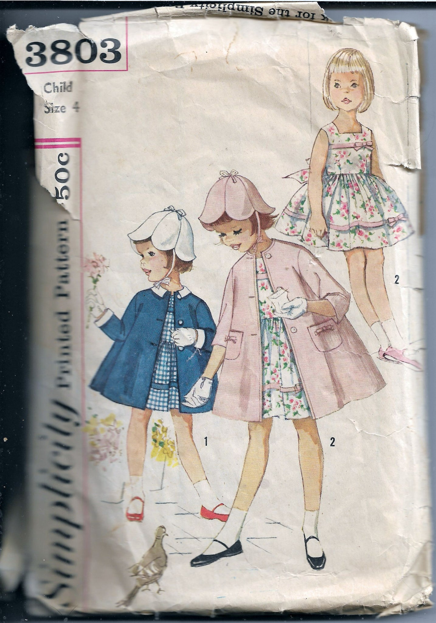 Simplicity 3803 Vintage Sewing Pattern 1960s Little Girls Play Dress Coat - VintageStitching - Vintage Sewing Patterns