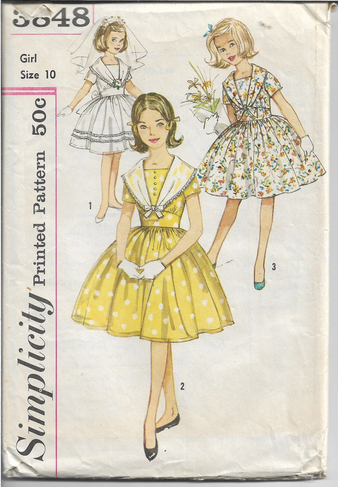 Simplicity 3848 Girls Party Dress Tie Collar Vintage Sewing Pattern 1960s - VintageStitching - Vintage Sewing Patterns