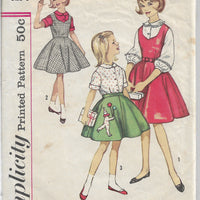 Simplicity 4236 Girls Jumper Dress Flared Skirt Vintage Sewing Pattern 1960s - VintageStitching - Vintage Sewing Patterns