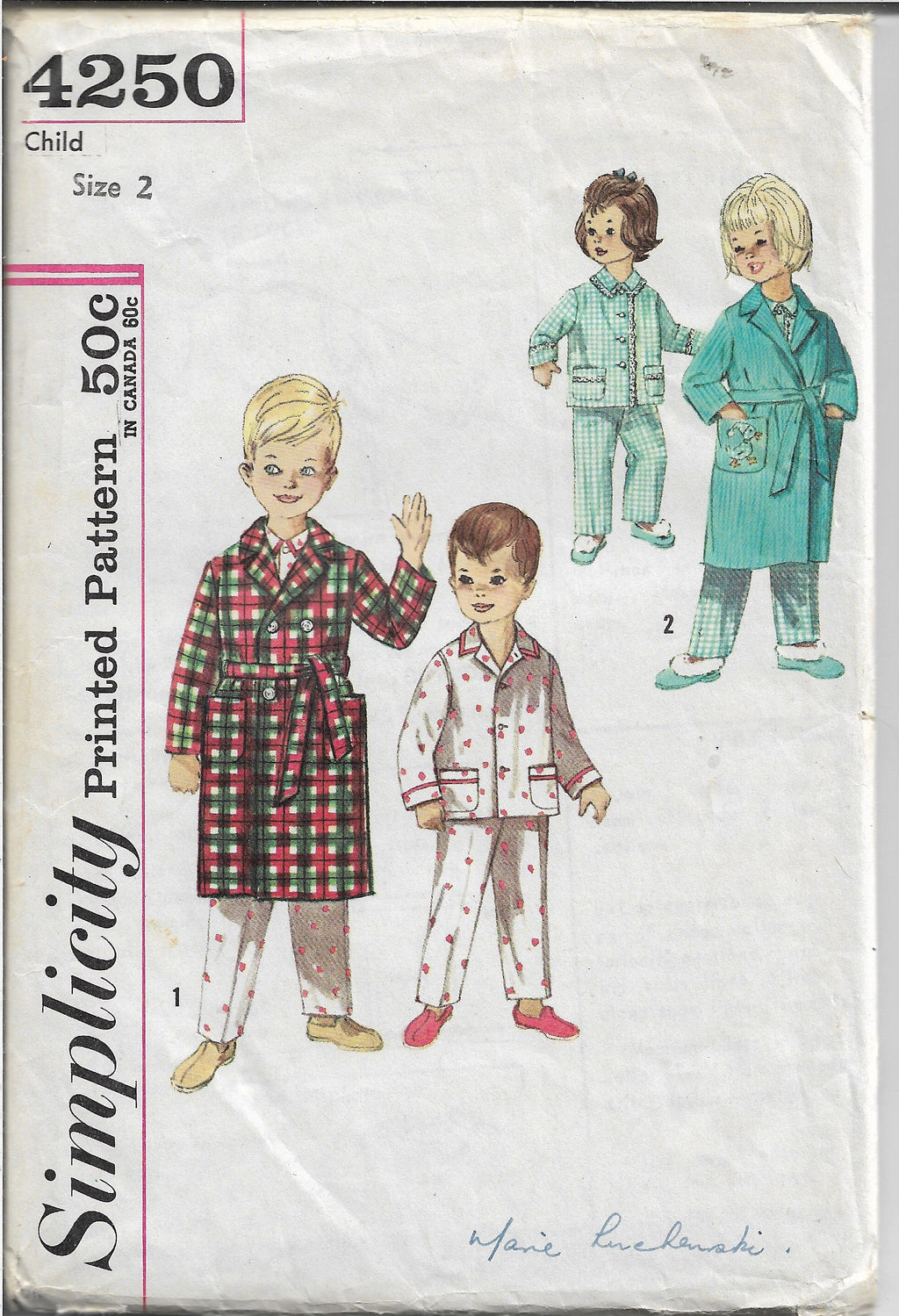 Simplicity 4250 Toddler Pajamas Robe Vintage Sewing Pattern 1960s - VintageStitching - Vintage Sewing Patterns
