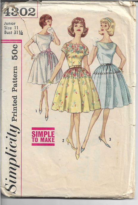 Simplicity 4302 Junior Ladies Party Dress Vintage Sewing Pattern 1960s - VintageStitching - Vintage Sewing Patterns