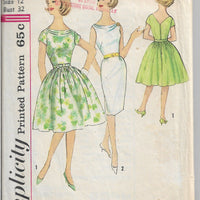 Simplicity 4468 Ladies Dress Drape Neckline Vintage Sewing Pattern 1960s - VintageStitching - Vintage Sewing Patterns