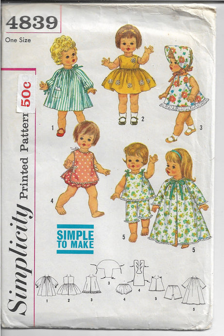 Simplicity 4839 Doll Wardrobe Chatty Baby Vintage Sewing Pattern 1960s - VintageStitching - Vintage Sewing Patterns