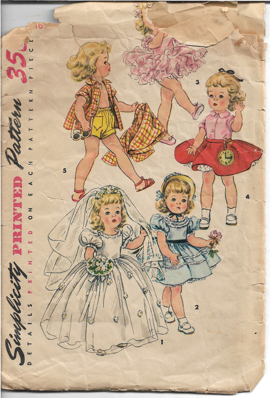 Simplicity 4909 Toni Walker Doll Wardrobe Vintage Sewing Craft Pattern 1950s - VintageStitching - Vintage Sewing Patterns