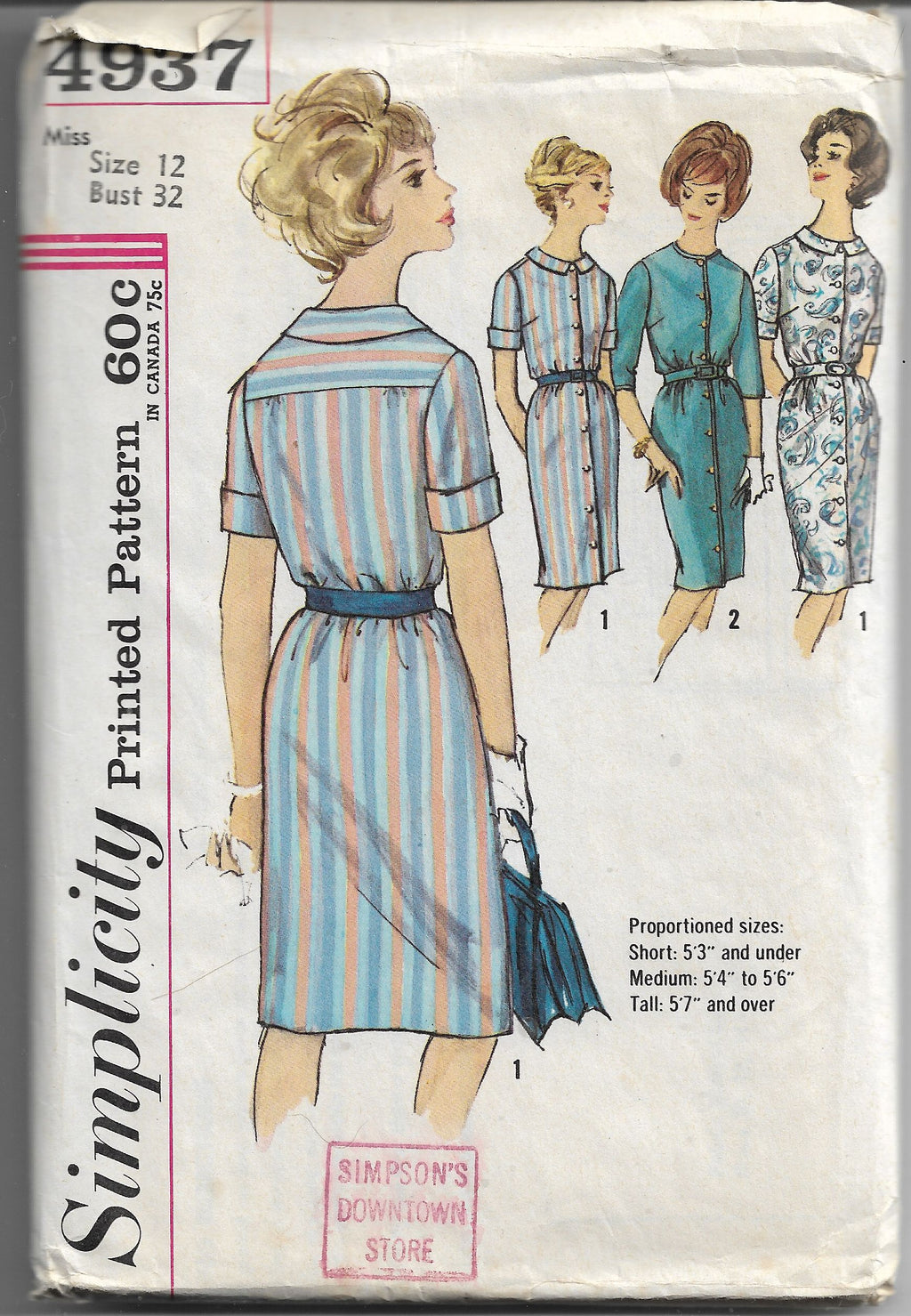 Simplicity 4937 Vintage Sewing Pattern 1960s Ladies Button Front Dress - VintageStitching - Vintage Sewing Patterns