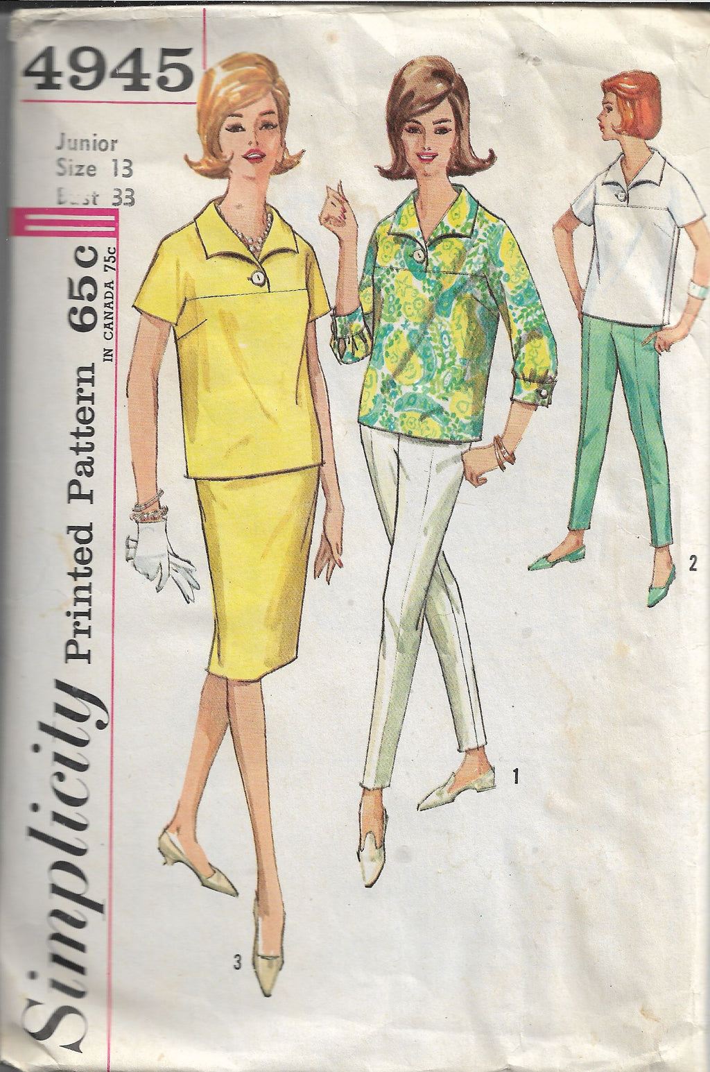 Simplicity 4945 Vintage Sewing Pattern 1960s Ladies Blouse Pants Skirt Junior - VintageStitching - Vintage Sewing Patterns