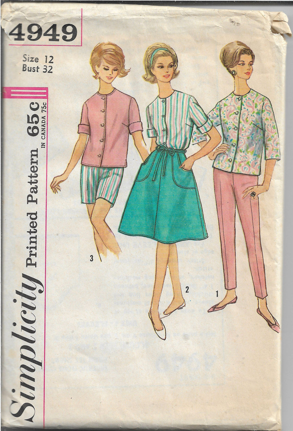 Simplicity 4949 Ladies Wrap Skirt Blouse Pants Vintage Sewing Pattern 1960s - VintageStitching - Vintage Sewing Patterns