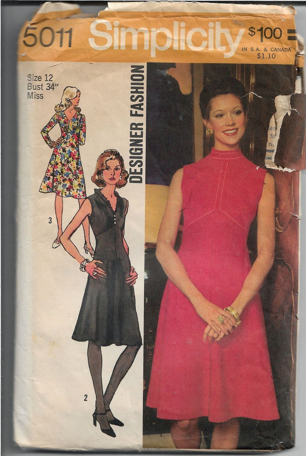 Simplicity 5011 Sleeveless Dress Vintage Sewing Pattern 1970s Designer Fashion - VintageStitching - Vintage Sewing Patterns