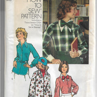 Simplicity 5148 Ladies Blouse Bow Tie Vintage Sewing Pattern 1970s - VintageStitching - Vintage Sewing Patterns