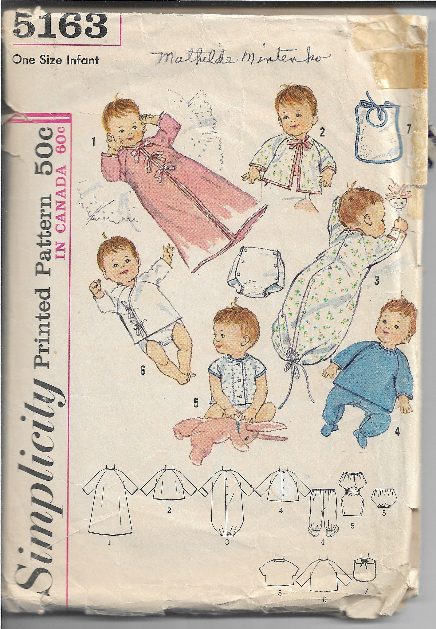 Simplicity 5163 Baby Newborn Layette Kimono Pajamas Vintage Sewing Pattern 1960s - VintageStitching - Vintage Sewing Patterns