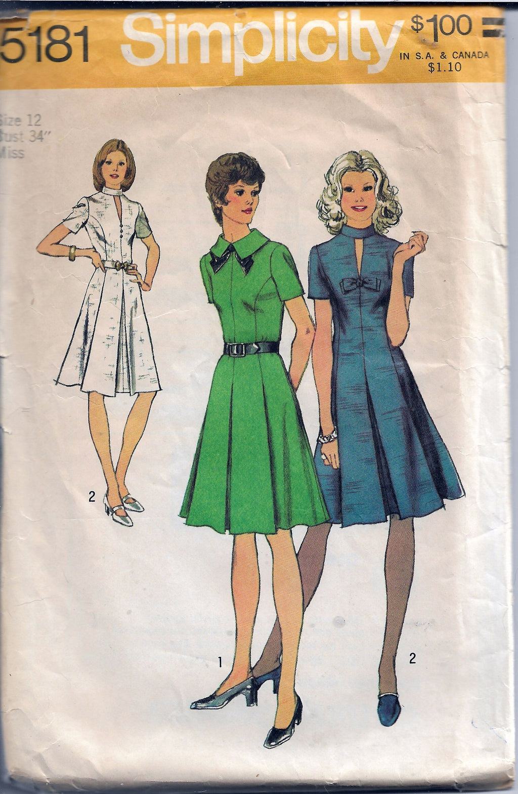 Simplicity 5181 Ladies Dress Vintage Sewing Pattern 1970s - VintageStitching - Vintage Sewing Patterns