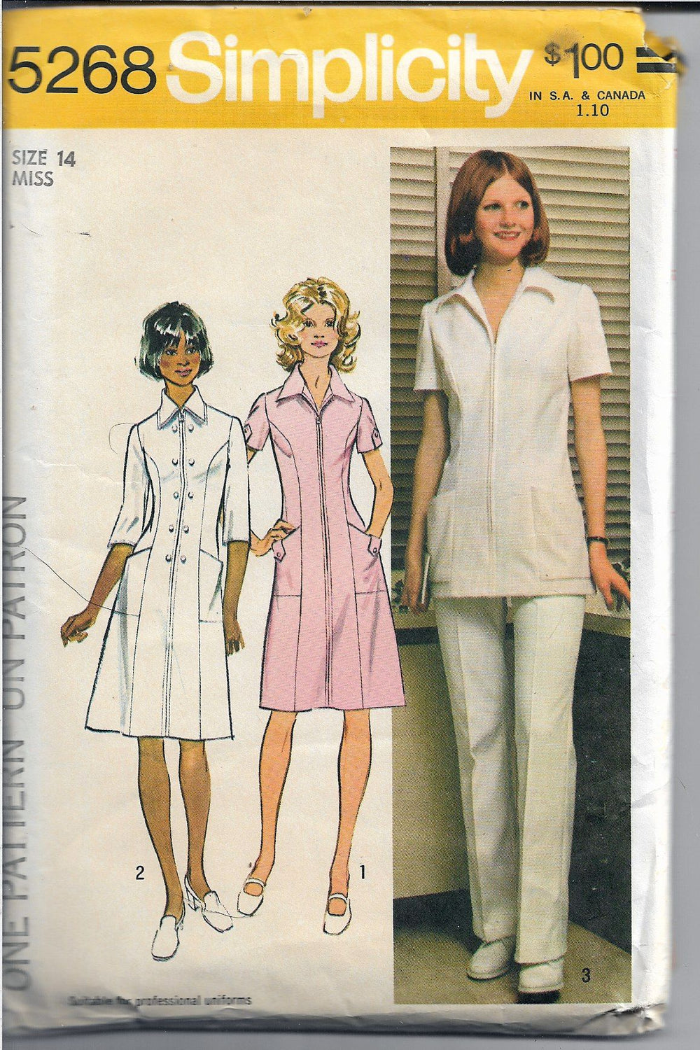 Simplicity 5268 Ladies Nurse Uniform Vintage Sewing Pattern 1970's - VintageStitching - Vintage Sewing Patterns