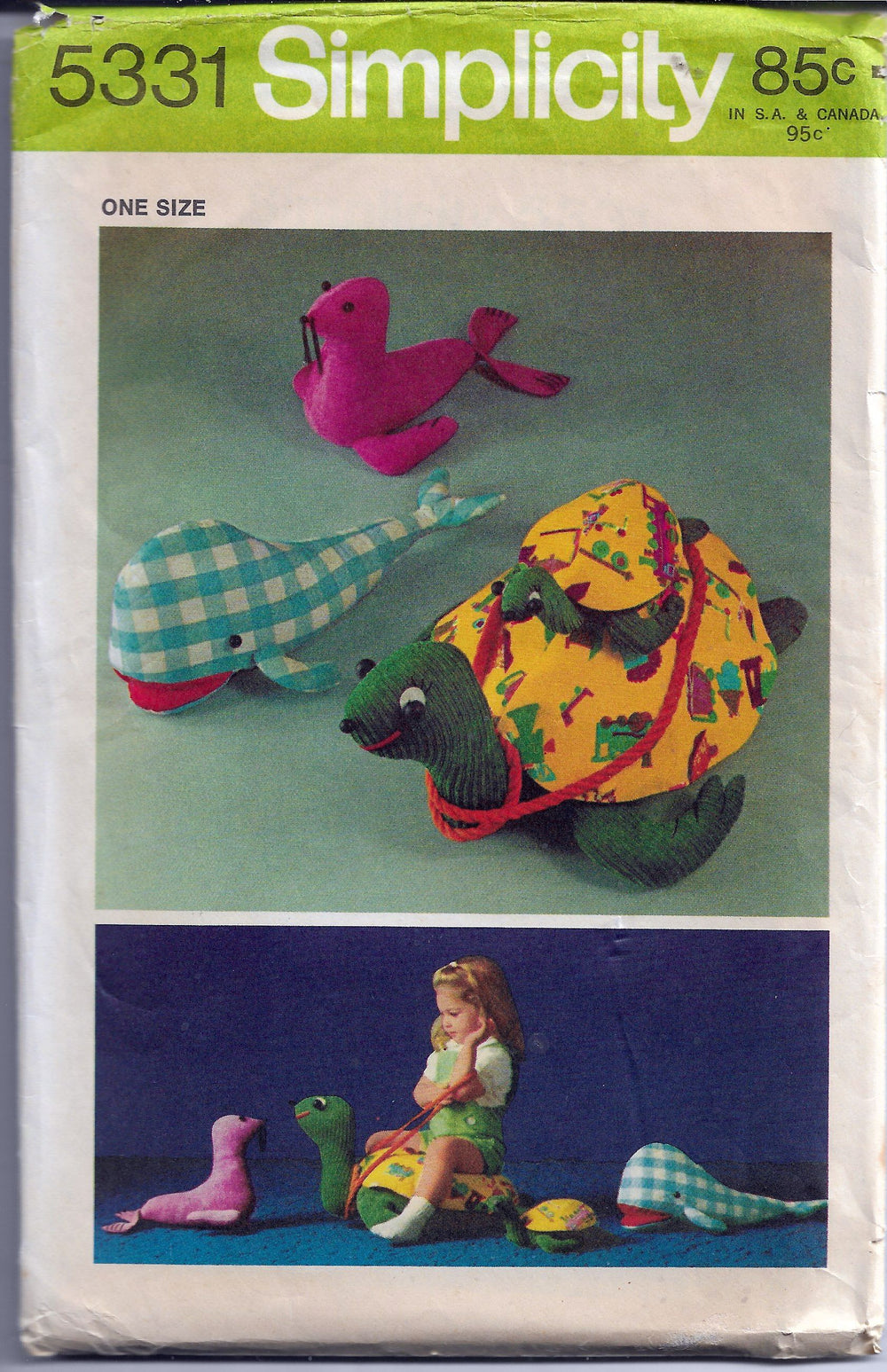 Simplicity 5331 Vintage Sewing Craft Pattern 1970s Ocean Toys Turtle Seal Whale - VintageStitching - Vintage Sewing Patterns