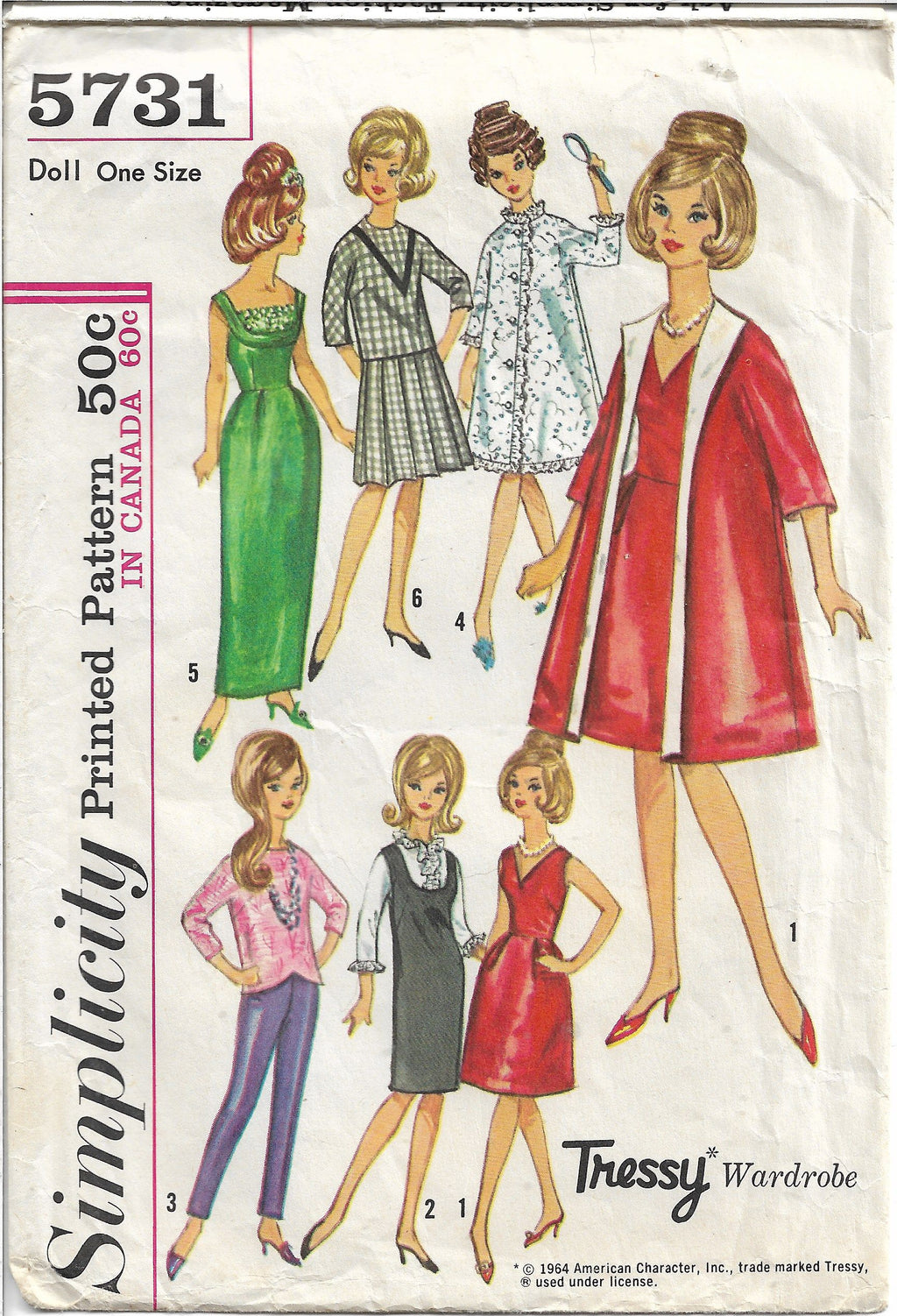 Simplicity 5731 Barbie Doll Vintage Sewing Craft Pattern 1960s - VintageStitching - Vintage Sewing Patterns