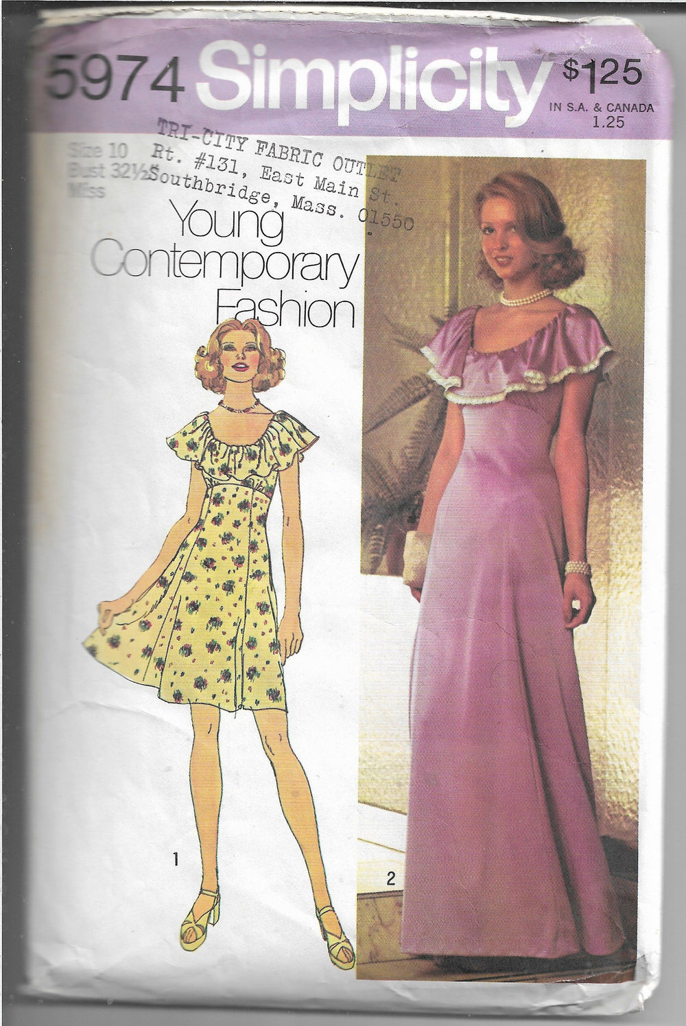 Simplicity 5974 Teen Dress Gown Vintage Sewing Pattern 1970s - VintageStitching - Vintage Sewing Patterns