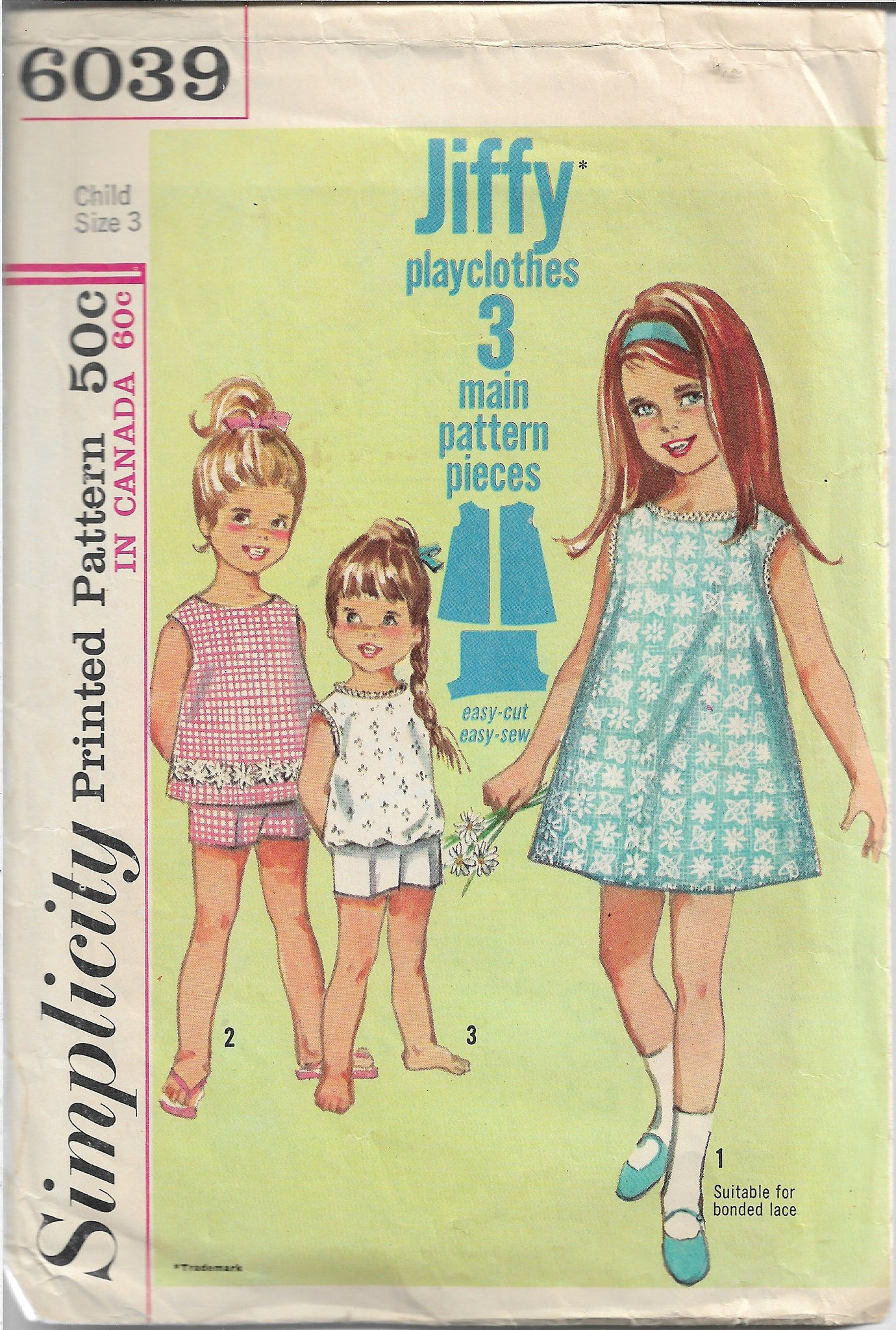 Simplicity 6039 Little Girls Jiffy Dress Shorts Vintage Sewing Pattern 1960s - VintageStitching - Vintage Sewing Patterns