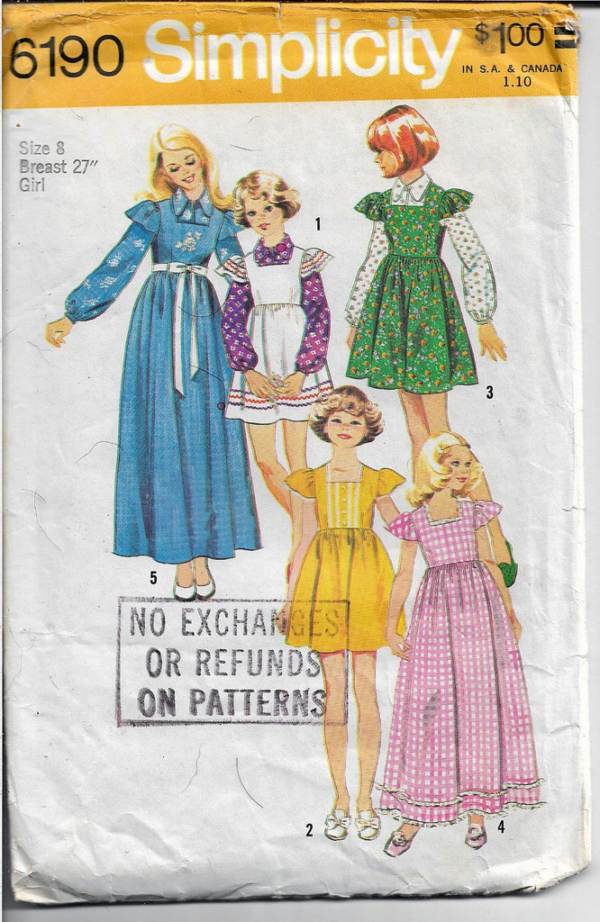 Simplicity 6190 Girls Gown Jumper Dress Vintage Sewing Pattern 1970s - VintageStitching - Vintage Sewing Patterns