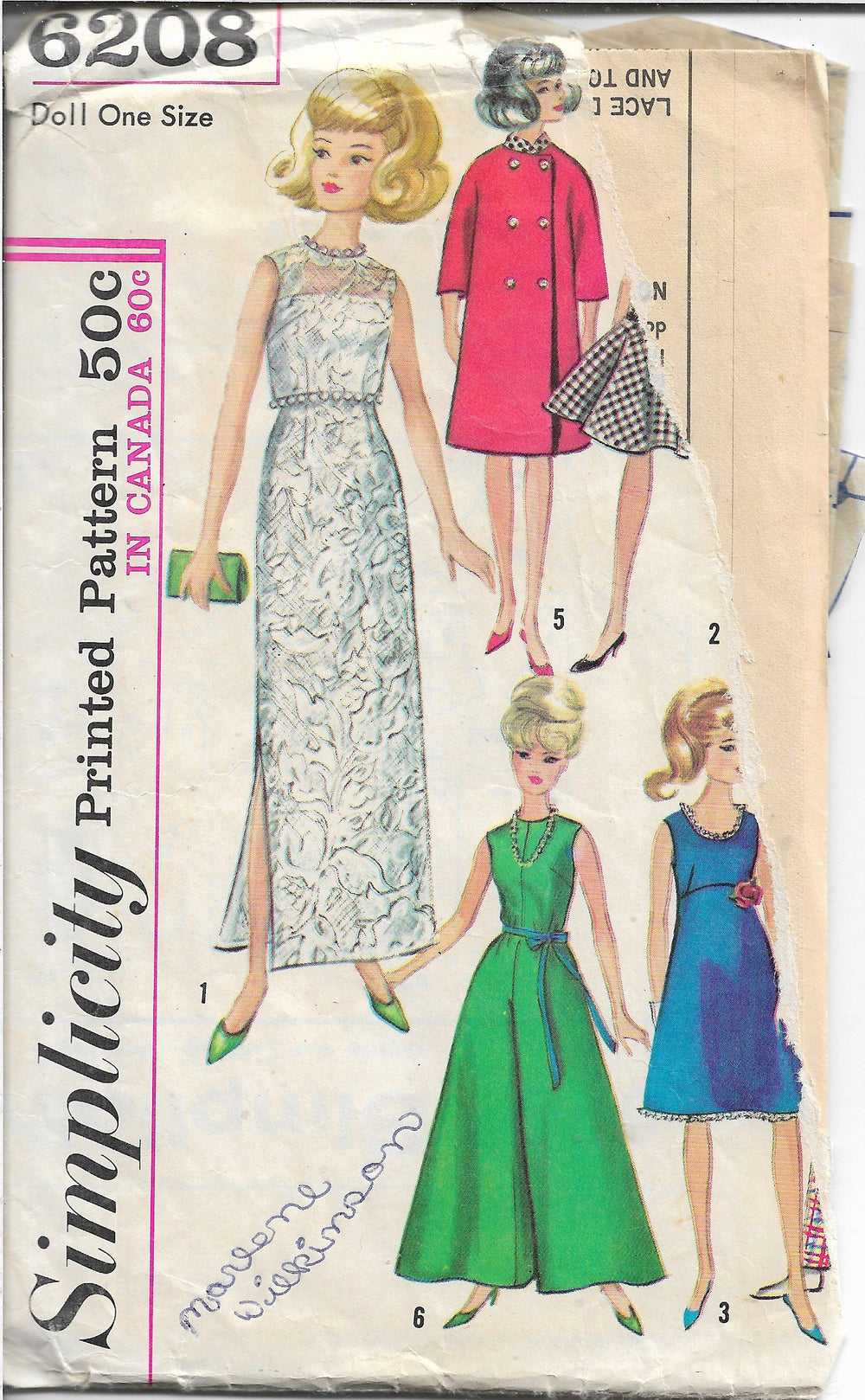 Simplicity 6208 Barbie Doll Clothes Vintage Sewing Craft Pattern 1960s - VintageStitching - Vintage Sewing Patterns