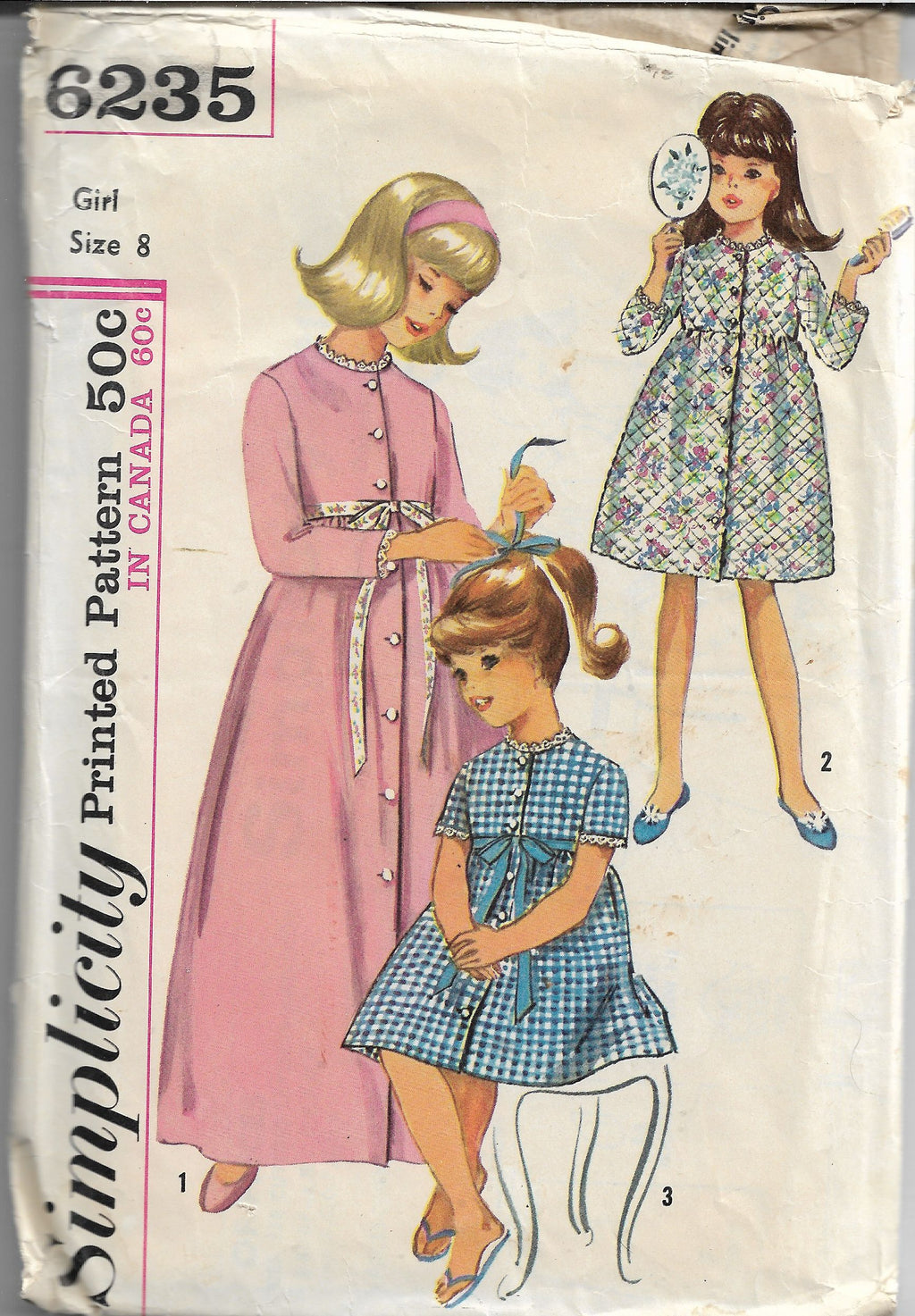Simplicity 6235 Vintage Sewing Pattern 1960s Girls Robe Empire Waist - VintageStitching - Vintage Sewing Patterns